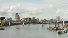 Portland Oregon Downtown Skyline with Bridges Timelapse 1080p Stock Footage
