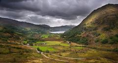 landscape through valley to llyn dinas in snowdonia national park - stock photo