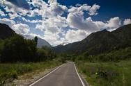 Stock Photo of the road to the mountains on the nature