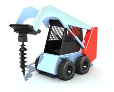 excavator - drill - stock illustration