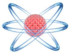 3D Atom - elementary particle - stock illustration