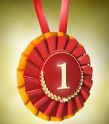Red ribbon award with gold laurels Stock Illustration