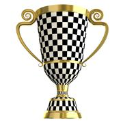 Crossed checkered trophy golden cup, symbols of winning - stock illustration