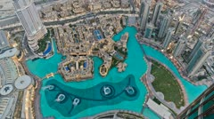 Dubai Fountain from Burj Khalifa HD Timelapse Stock Footage