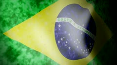 Flag of Brazil with Noise Stock Footage