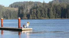 1440 A dock along the river - stock footage