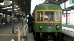 Enoshima Line Train At Kamakura Station - stock footage