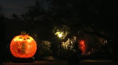 Spooky Halloween House Decorations Stock Footage