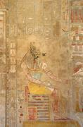 painting inside the mortuary temple of hatshepsut - stock photo