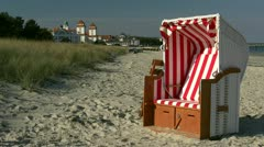 Beach Chair on the Beach in Binz on Rügen Island - Baltic Sea, Germany Stock Footage