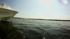 Speed boat at Water Level Stock Footage