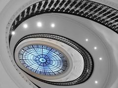 Spiral staircase with glass atrium Stock Photos