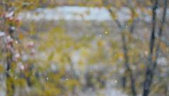 Snow falling in autumn, slippery road, ice, slush Stock Footage