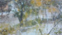 Snow falling in autumn, slippery road, ice, slush 005 Stock Footage