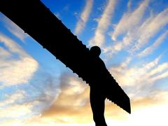 angel of the north landmark of gatheshead newcastle - stock photo