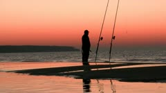 Fishing in the Sunset - Baltic Sea, Northern Germany Stock Footage