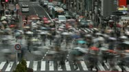 Monsoon Season Rain Rush Hour Tokyo People Walk Shopping Street Crowd Time Lapse Stock Footage