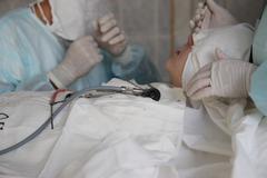 Operation. Surgical table. implantation - stock photo