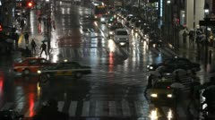 Anonymous Cars Passing Tokyo Crowded Street Road Night Lights Monsoon Rainstorm Stock Footage