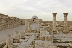 Ruin byzantine church and umayyad monumental gateway Stock Photos
