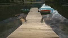 Boats on the lake tilt Stock Footage