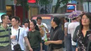 Nanjing shopping street crowded Nanjing China people tourist walk day busy Asia Stock Footage