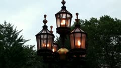 Street gas lamp Stock Footage