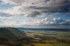 stunning scene across escarpment countryside landscape with beautiful clouds - stock photo