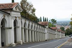 road that leads to monte berico and the arcades - stock photo
