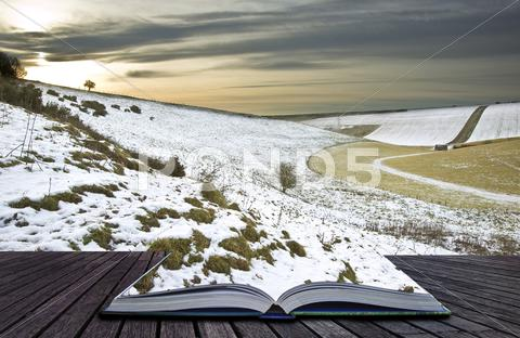 Stock Illustration of creative concept idea of winter landscape coming out of pages in magical book