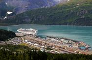 Stock Photo of whittier, alaska with cruise ship