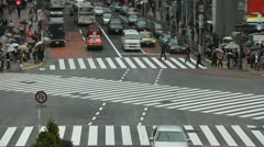 Shopping Area Tokyo Rainy Day Busy Street People Crossing Crowd Walking Commuter Stock Footage