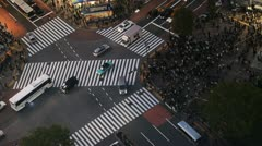 Night Anonymous Car Traffic Busy Intersection Crowded Sidewalk Aerial Shot Tokyo Stock Footage