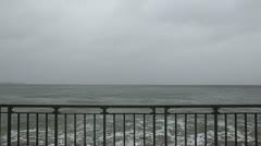 Hurricane Sandy Splashing on the Shore in Marine Park, Brooklyn Stock Footage