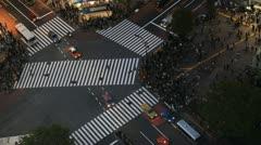 Night Cars Traffic Street Crowded Sidewalk Aerial Tokyo People Crowd Crossing Stock Footage