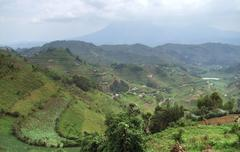 Virunga mountains in stormy ambiance Stock Photos