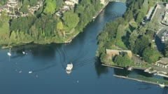 Boat Passing Through Canal - Aerial Stock Footage