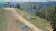 Aspen gondola ride up - rear view almost at top Stock Footage