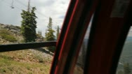 Aspen gondola ride up - pan front to side view panorama Stock Footage