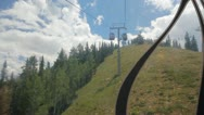 Aspen gondola ride up - front view steep climb Stock Footage