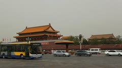 China, Gate to Forbidden City, Tiananmen Square in center of Beijing Stock Footage