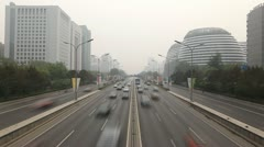 Air Pollution and Huge Traffic in Beijing CBD, China, Dust Storm, time lapse Stock Footage