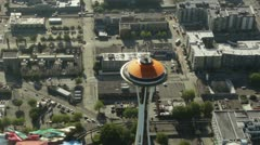 Space Needle in Seattle, Washington - Aerial View 1 - stock footage