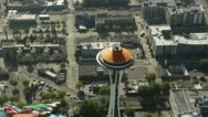 Stock Video Footage of Space Needle in Seattle, Washington - Aerial View 1
