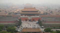 Aerial View, Gate to Forbidden City, Center Beijing, China, Air Pollution, Smog Stock Footage