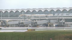 Evacuated airport amid hurricane Stock Footage