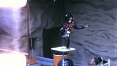 MONKEY SHOW ACT Chimp Pole Dancer Trainer 1960s (Vintage Film Home Movie) 5400 - stock footage
