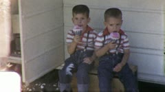 KIDS EAT SNOW CONES TWINS Children Brothers 1960 (Vintage Film Home Movie) 5403 Stock Footage