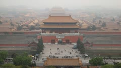 Aerial View, Gate to Forbidden City, Beijing, China, Air Pollution, time lapse - stock footage
