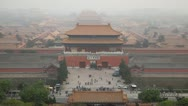 Stock Video Footage of Aerial View, Gate to Forbidden City, Beijing, China, Air Pollution, time lapse